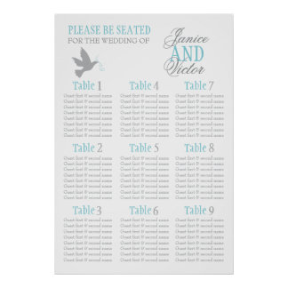 Grey dove aqua blue wedding seating table plan 1-9 print