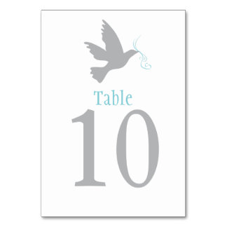 Grey dove bird wedding or occassion table number card