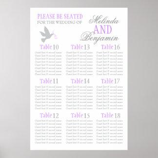 Grey dove purple wedding seating table plan 10-18 poster