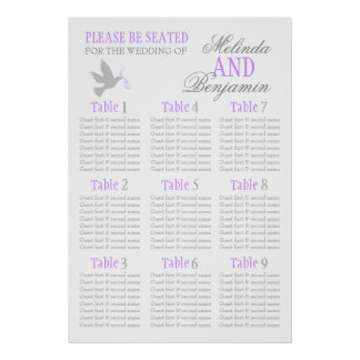 Grey dove purple wedding seating table planner 1-9 poster