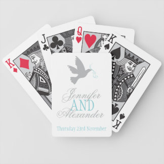 Grey dove with blue wedding name playing cards