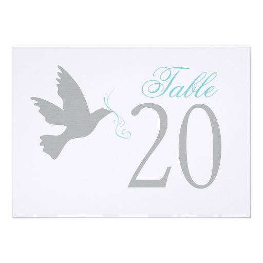 Grey dove with blue wedding table numbers personalized announcement