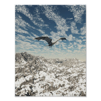 Grey Dragon Flying over the Mountains Poster