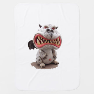 Grey Dragon with angry open mouth grin Baby Blanket