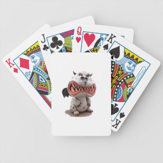 Grey Dragon with angry open mouth grin Bicycle Playing Cards
