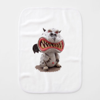 Grey Dragon with angry open mouth grin Burp Cloth