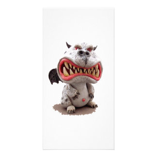 Grey Dragon with angry open mouth grin Card