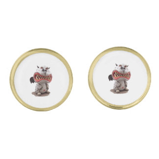 Grey Dragon with angry open mouth grin Gold Cufflinks