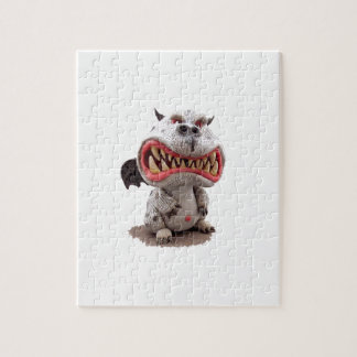 Grey Dragon with angry open mouth grin Jigsaw Puzzle
