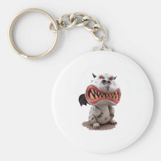 Grey Dragon with angry open mouth grin Keychain