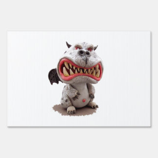Grey Dragon with angry open mouth grin Lawn Sign