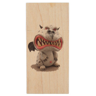 Grey Dragon with angry open mouth grin Wood USB 2.0 Flash Drive