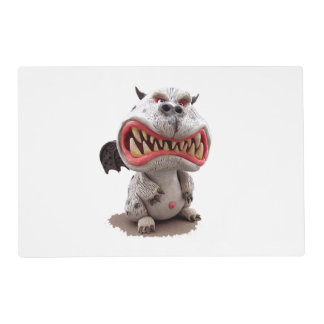 Grey Dragon with angry open mouth grin Laminated Place Mat
