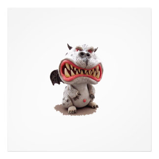 Grey Dragon with angry open mouth grin Photo Art