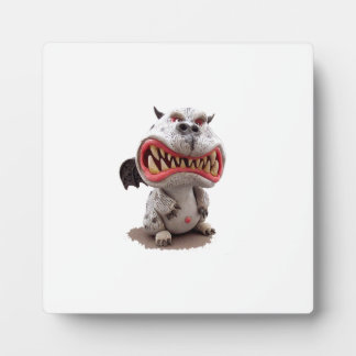 Grey Dragon with angry open mouth grin Plaque