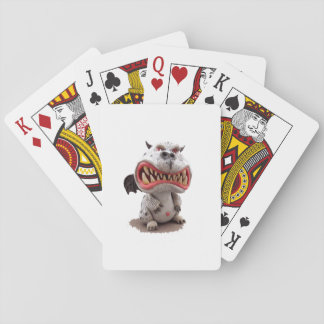 Grey Dragon with angry open mouth grin Playing Cards