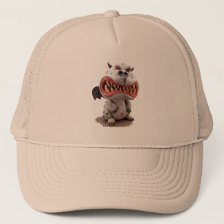 Grey Dragon with angry open mouth grin Trucker Hat