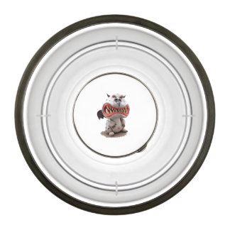 Grey Dragon with angry open mouth grin Pet Bowl