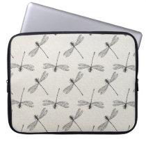 Grey Dragonfly Pattern Laptop Sleeve