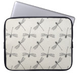 Grey Dragonfly Pattern Laptop Sleeves