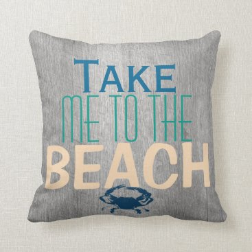 Beach Themed Grey Driftwood Beach Blue Crab Throw Pillow
