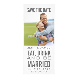 Grey EAT DRINK BE MARRIED Save the Date Personalized Invitations