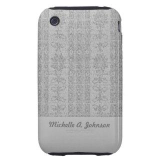 Grey Elegant distressed Damask Tough iPhone 3 Cover