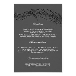 Grey Elegant Feathers Wedding Details Card