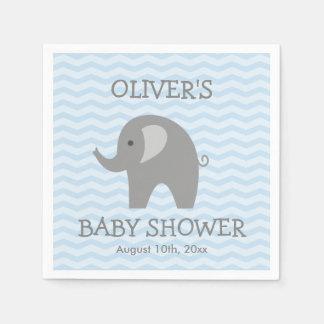Grey elephant and blue chevron baby shower napkins