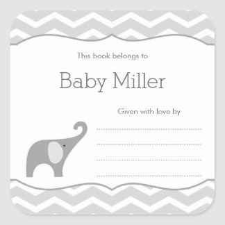 Grey Elephant Baby Shower Bookplate, neutral Square Sticker