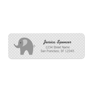 Toddler & Baby themed Grey elephant baby shower return address labels