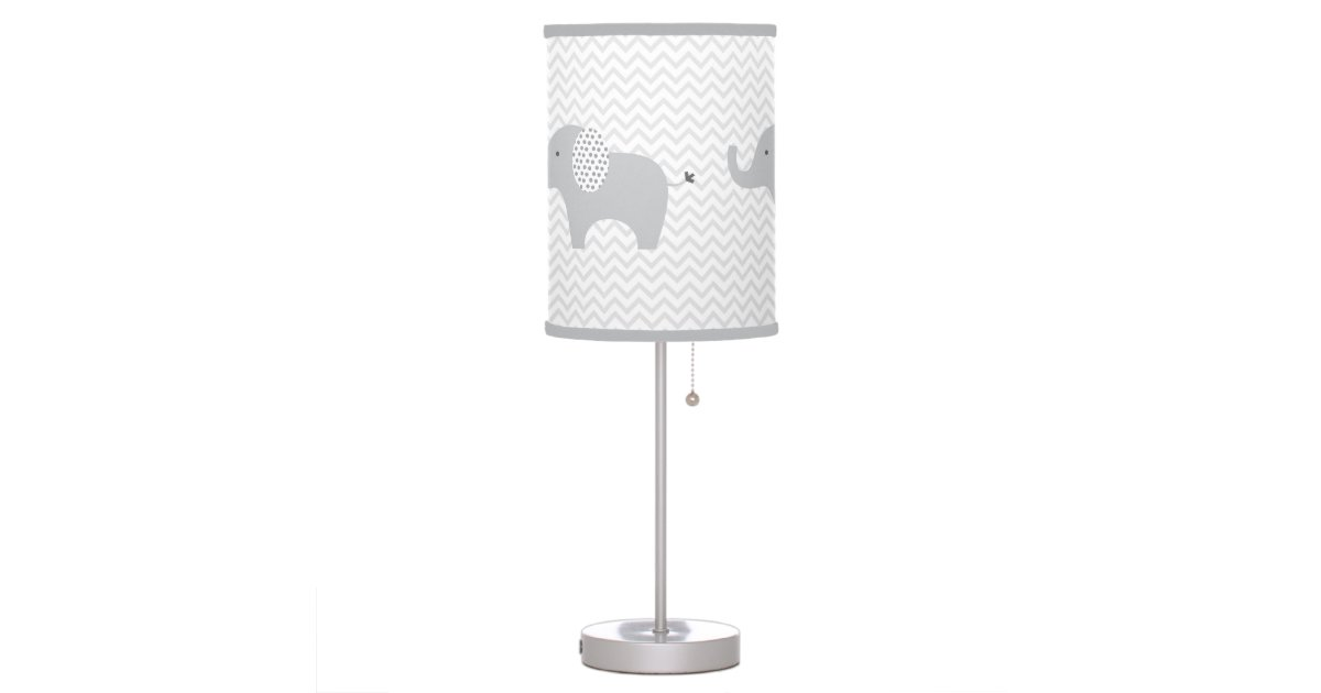 grey elephant chevron nursery lamp zazzle. Black Bedroom Furniture Sets. Home Design Ideas