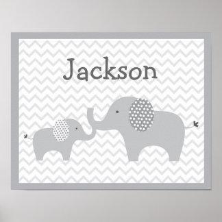 Grey Elephant Chevron Nursery Wall Art Print