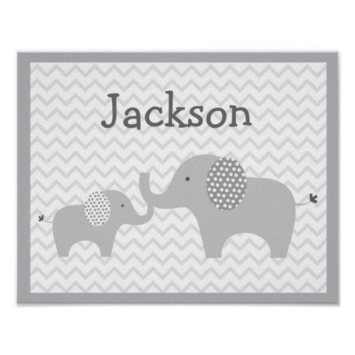 Grey Elephant Chevron Nursery Wall Art Print