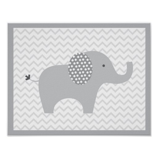 Grey Elephant Chevron Nursery Wall Print