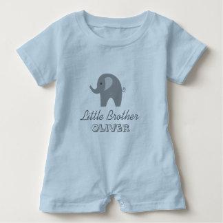 Grey elephant little brother baby romper bodysuit
