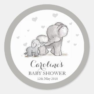Grey Elephant Love Blue Baby Shower Sticker Classic Round Sticker
