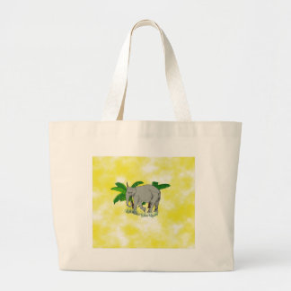 Grey Elephant on Yellow Background Canvas Bags