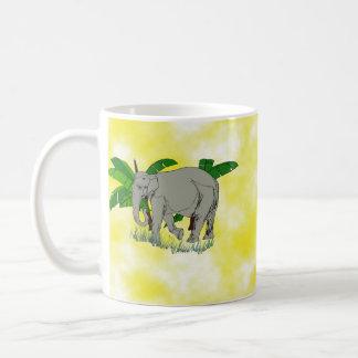 Grey Elephant on Yellow Background Coffee Mug