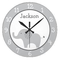 Grey Elephant Personalized Nursery Wall Clock