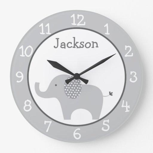 Grey Elephant Personalized Nursery Wall Clock