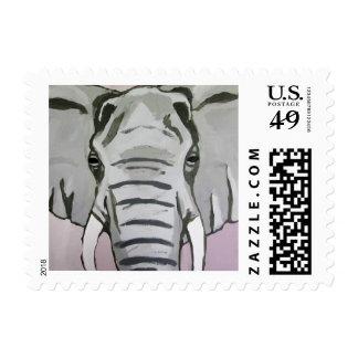 Grey Elephant Postage Stamp