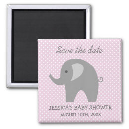Grey elephant Save the date baby shower magnet
