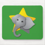 Grey elephant surprise! star mouse pad
