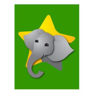 Grey elephant surprise! star postcard
