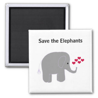 Grey Elephant with Hearts Magnet