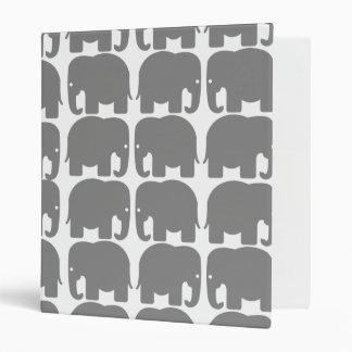 Grey Elephants Silhouette Binder