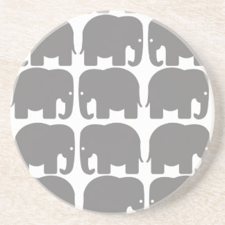 Grey Elephants Silhouette Coaster