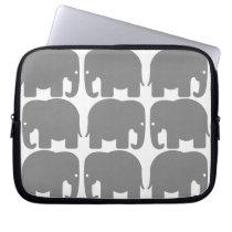Grey Elephants Silhouette Electronics Bag