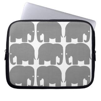 Grey Elephants Silhouette Electronics Bag Laptop Computer Sleeves
